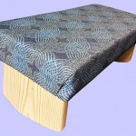 padded meditation bench, teal, blue