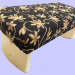 padded meditation bench, black, gold, orange, flowers