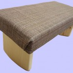 padded meditation bench, woven, earthtone, tan